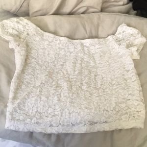 Express Off the Shoulder White Lace Crop Top
